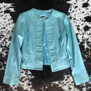 Light Blue Leather Blazer